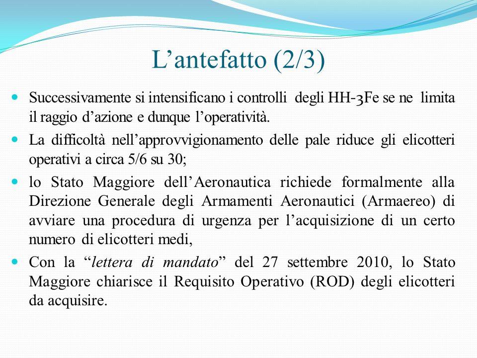 L'antefatto (2/3) Successivamente si intensificano i controlli degli HH-3Fe se ne limita il raggio d'azione e dunque l'operatività.