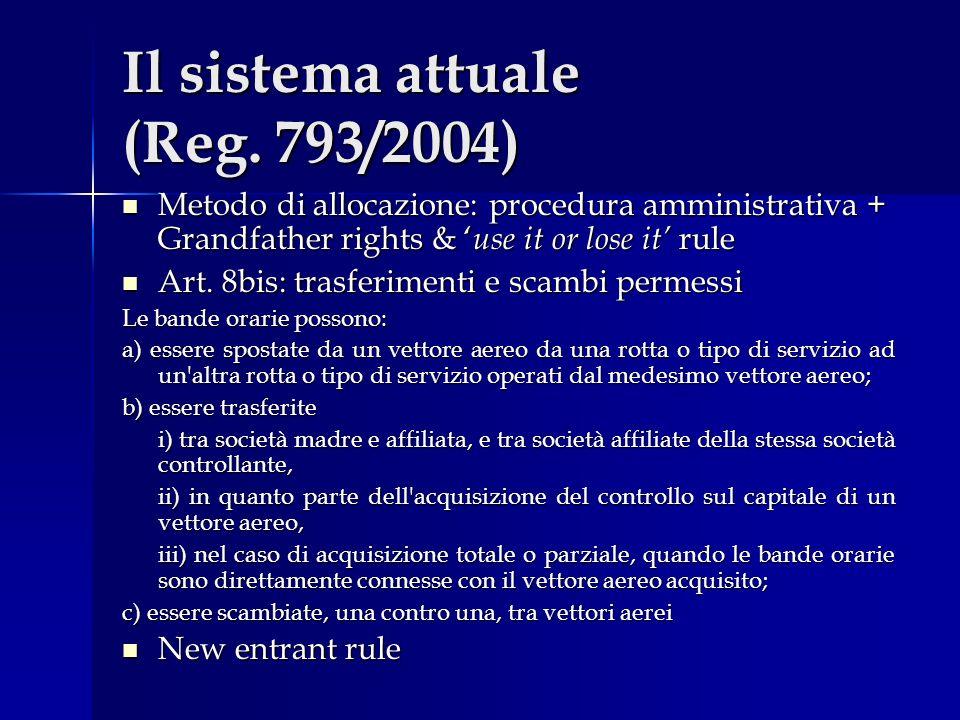 Il sistema attuale (Reg. 793/2004)
