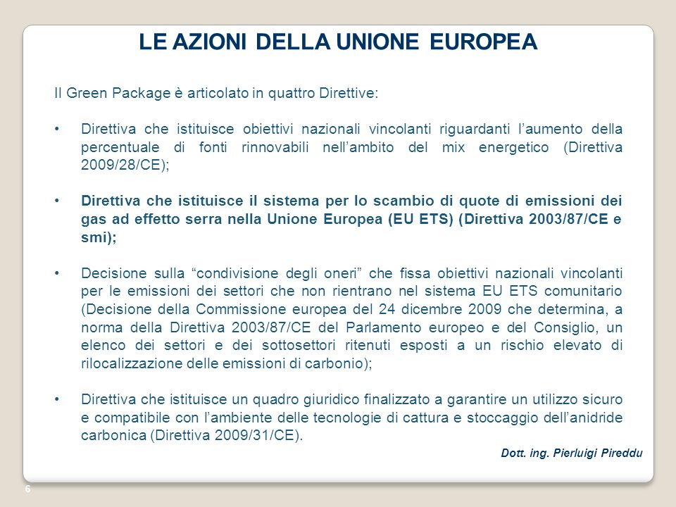 LE AZIONI DELLA UNIONE EUROPEA