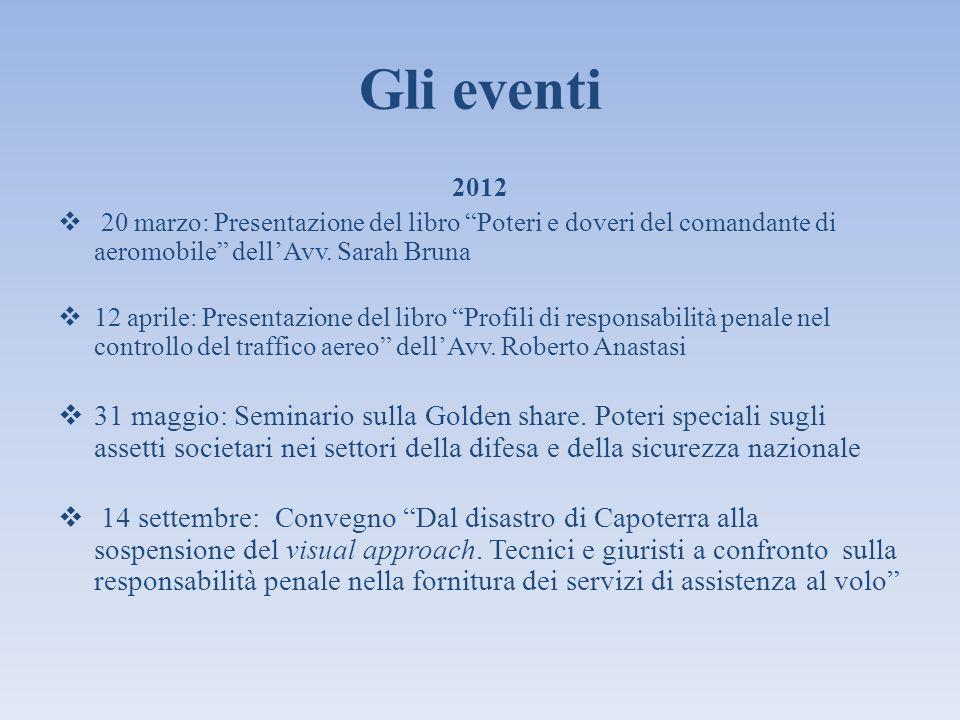 Gli eventi 2012. 20 marzo: Presentazione del libro Poteri e doveri del comandante di aeromobile dell'Avv. Sarah Bruna.