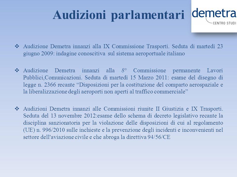Audizioni parlamentari