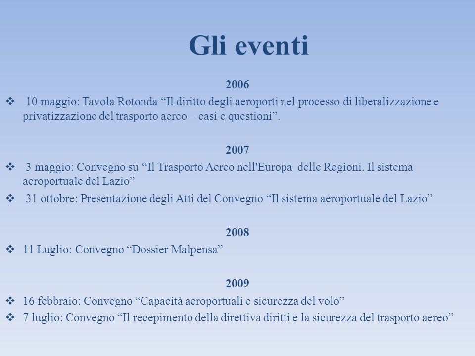 Gli eventi 2006.