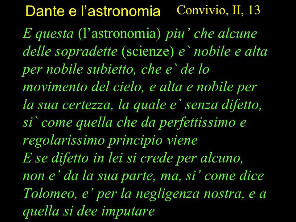 Dante e l'astronomia Convivio, II, 13.