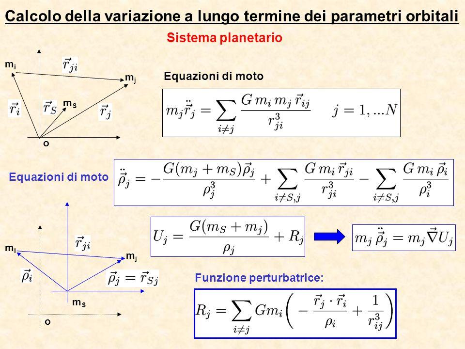 Calcolo della variazione a lungo termine dei parametri orbitali