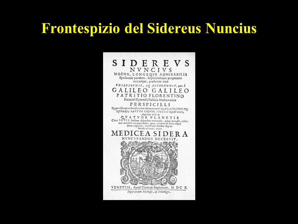 Frontespizio del Sidereus Nuncius