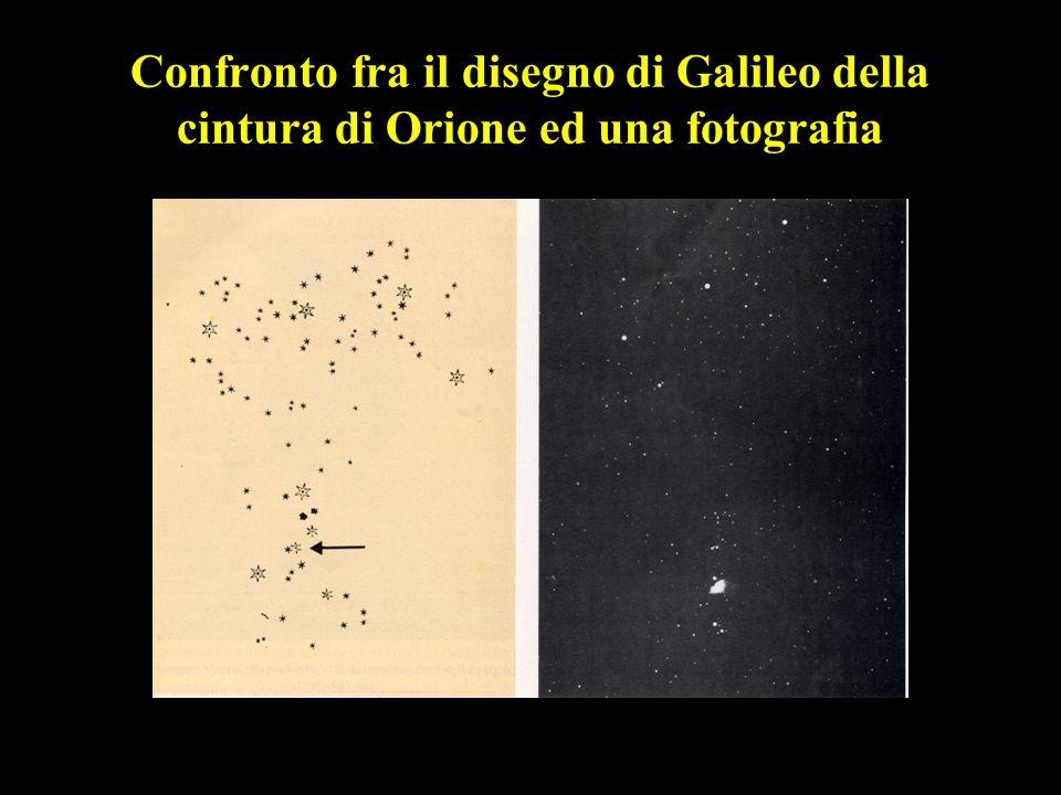 Confronto fra il disegno di Galileo della cintura di Orione ed una fotografia
