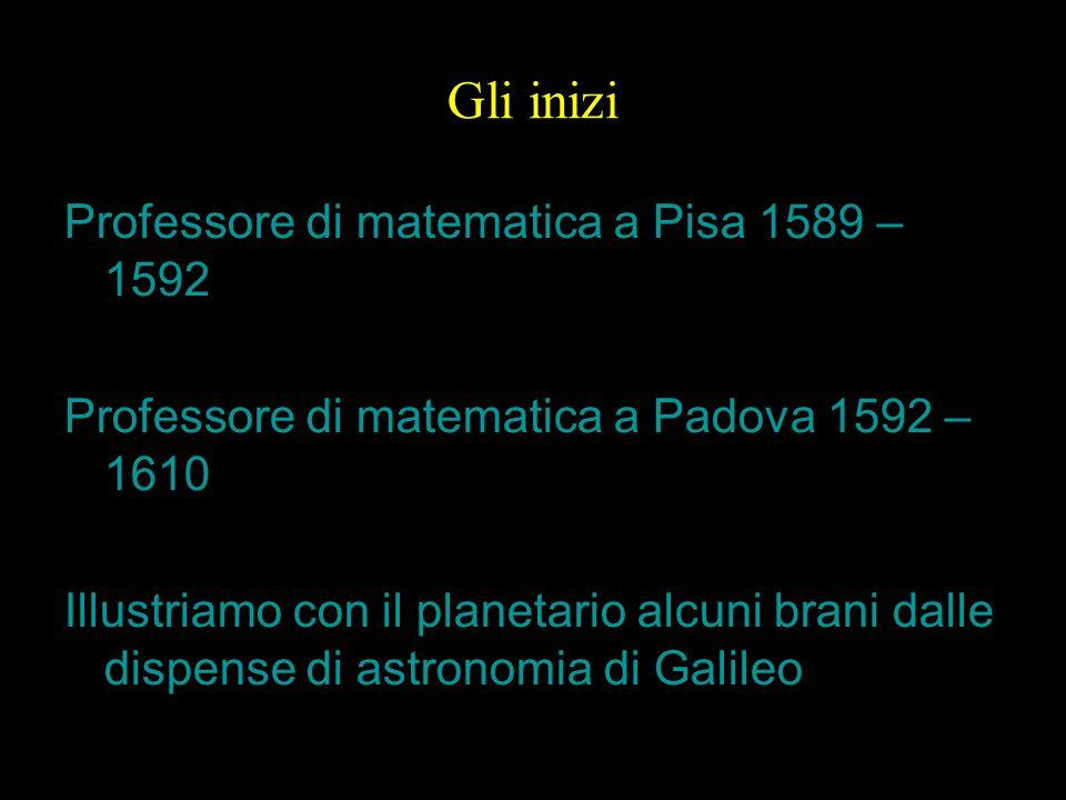 Gli inizi Professore di matematica a Pisa 1589 – 1592