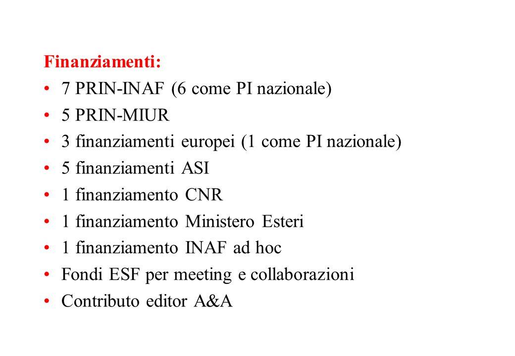 Finanziamenti:7 PRIN-INAF (6 come PI nazionale) 5 PRIN-MIUR. 3 finanziamenti europei (1 come PI nazionale)
