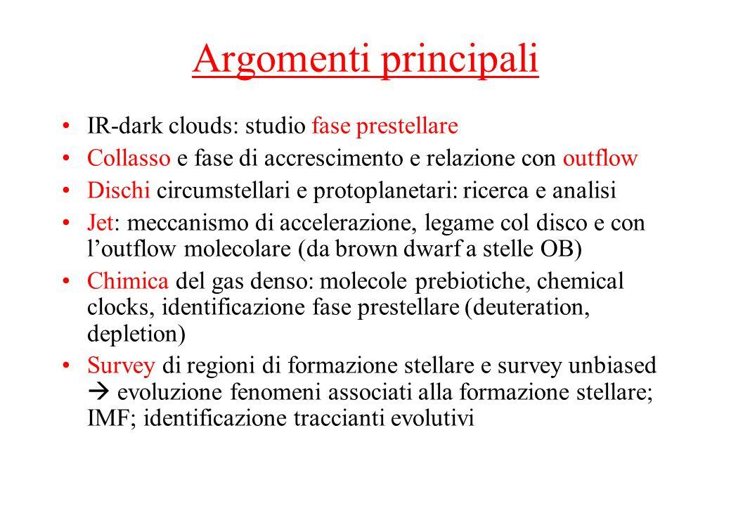 Argomenti principali IR-dark clouds: studio fase prestellare