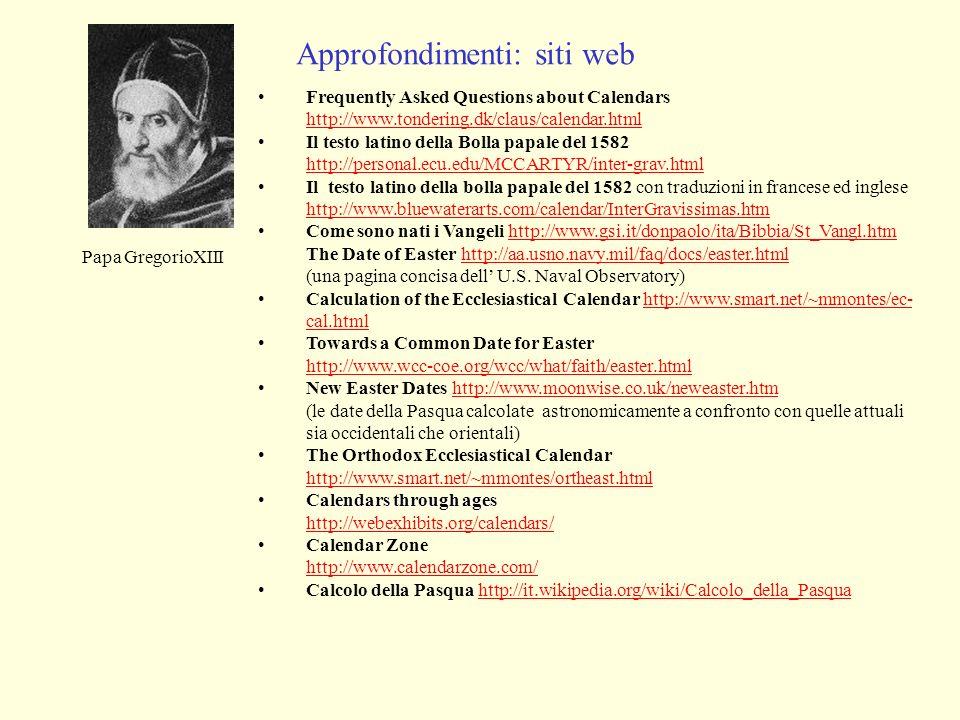 Approfondimenti: siti web
