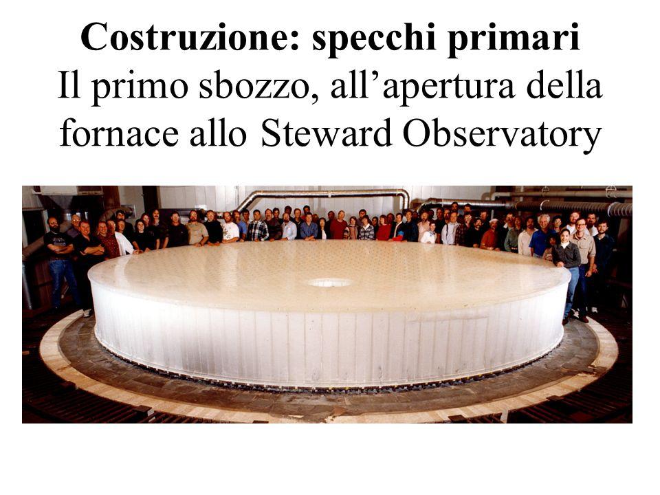 Costruzione: specchi primari Il primo sbozzo, all'apertura della fornace allo Steward Observatory