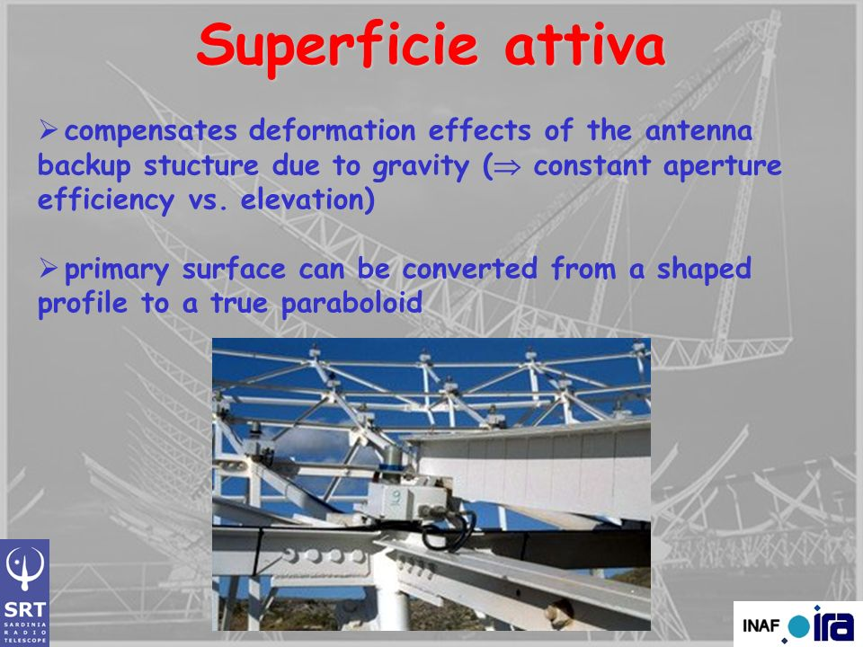 Superficie attiva compensates deformation effects of the antenna backup stucture due to gravity ( constant aperture efficiency vs. elevation)