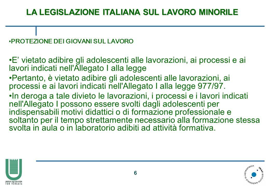 LA LEGISLAZIONE ITALIANA SUL LAVORO MINORILE