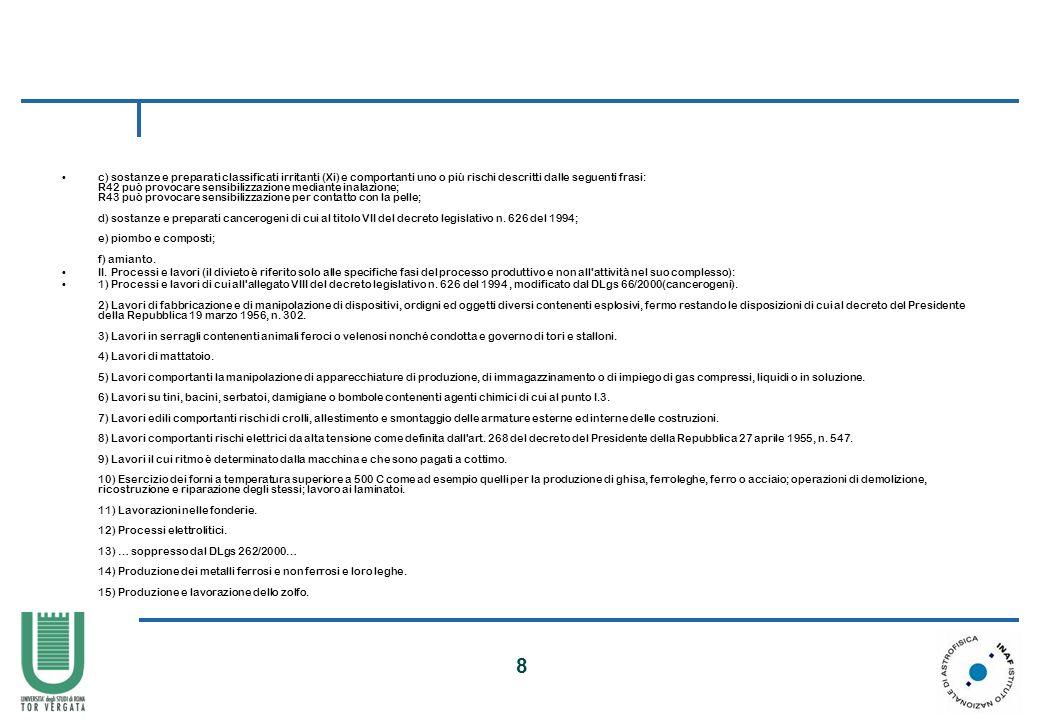 c) sostanze e preparati classificati irritanti (Xi) e comportanti uno o più rischi descritti dalle seguenti frasi: R42 può provocare sensibilizzazione mediante inalazione; R43 può provocare sensibilizzazione per contatto con la pelle; d) sostanze e preparati cancerogeni di cui al titolo VII del decreto legislativo n. 626 del 1994; e) piombo e composti; f) amianto.