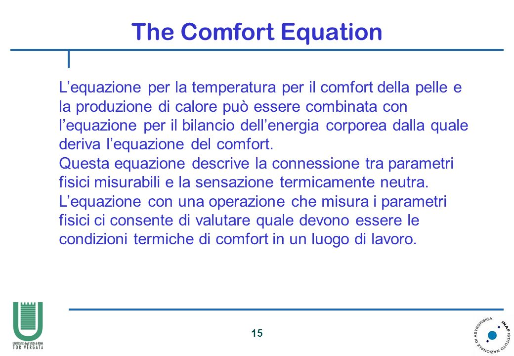 The Comfort Equation