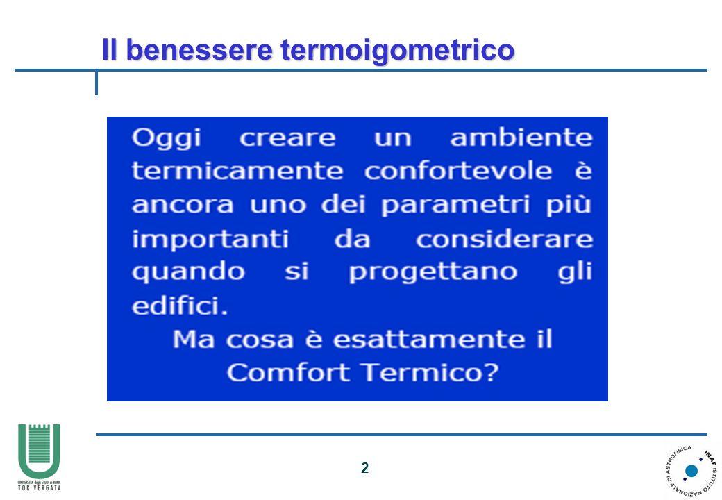 Il benessere termoigometrico