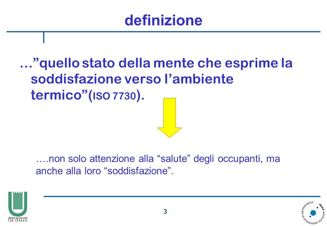 definizione … quello stato della mente che esprime la soddisfazione verso l'ambiente termico (ISO 7730).