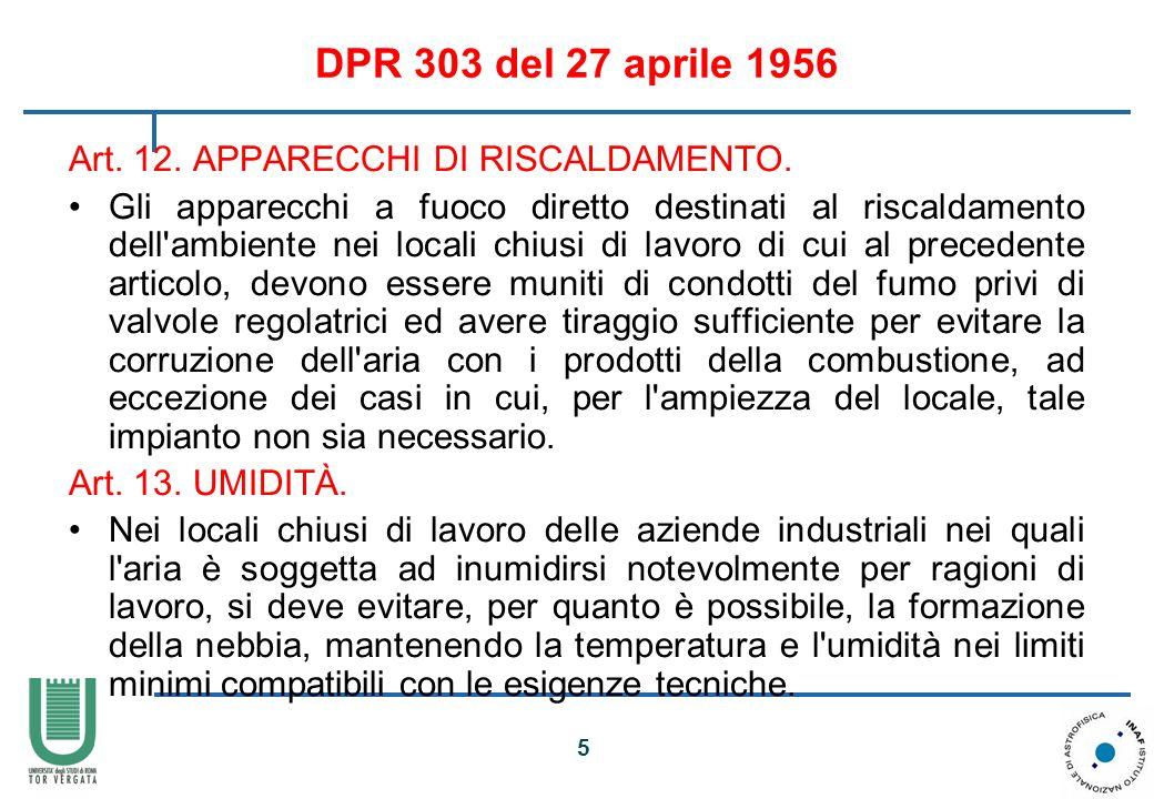 DPR 303 del 27 aprile 1956 Art. 12. APPARECCHI DI RISCALDAMENTO.