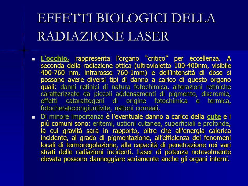 EFFETTI BIOLOGICI DELLA RADIAZIONE LASER