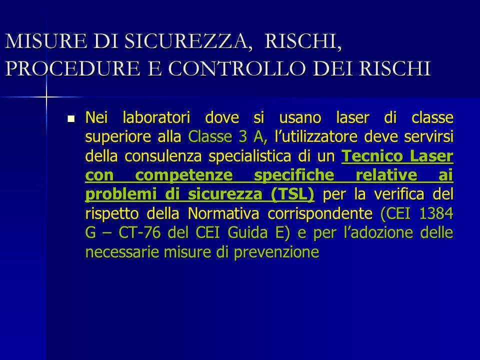 MISURE DI SICUREZZA, RISCHI, PROCEDURE E CONTROLLO DEI RISCHI