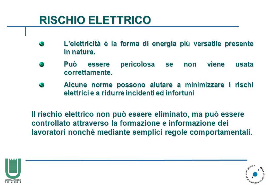 RISCHIO ELETTRICO L'elettricità è la forma di energia più versatile presente in natura. Può essere pericolosa se non viene usata correttamente.