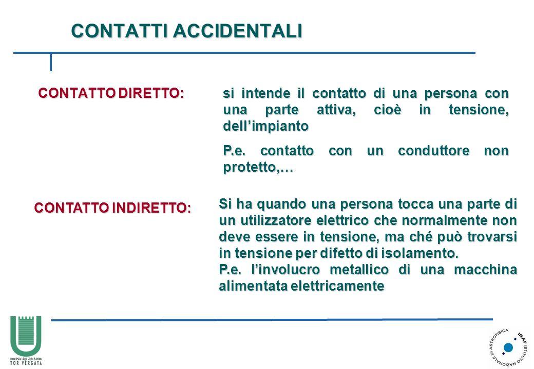 CONTATTI ACCIDENTALI CONTATTO DIRETTO: