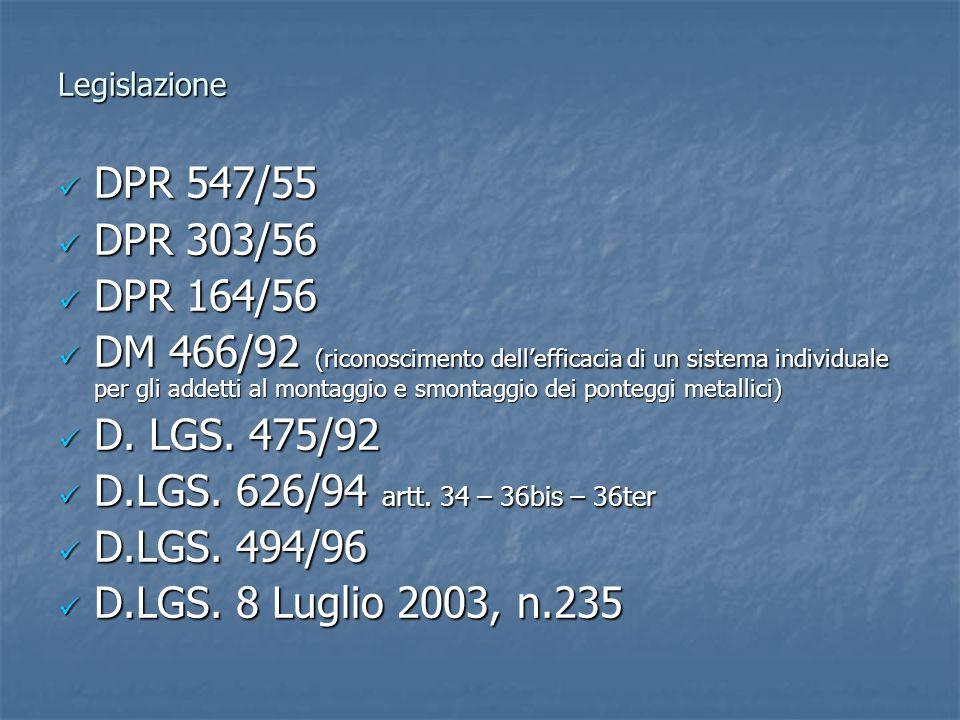 Legislazione DPR 547/55. DPR 303/56. DPR 164/56.