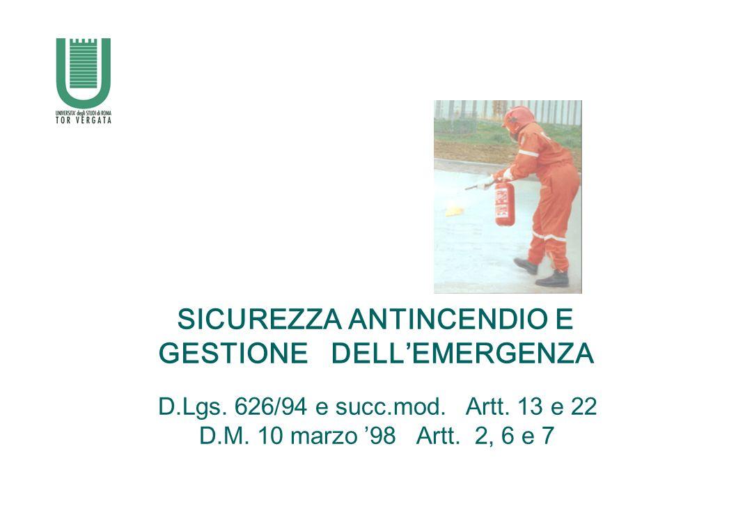SICUREZZA ANTINCENDIO E GESTIONE DELL'EMERGENZA