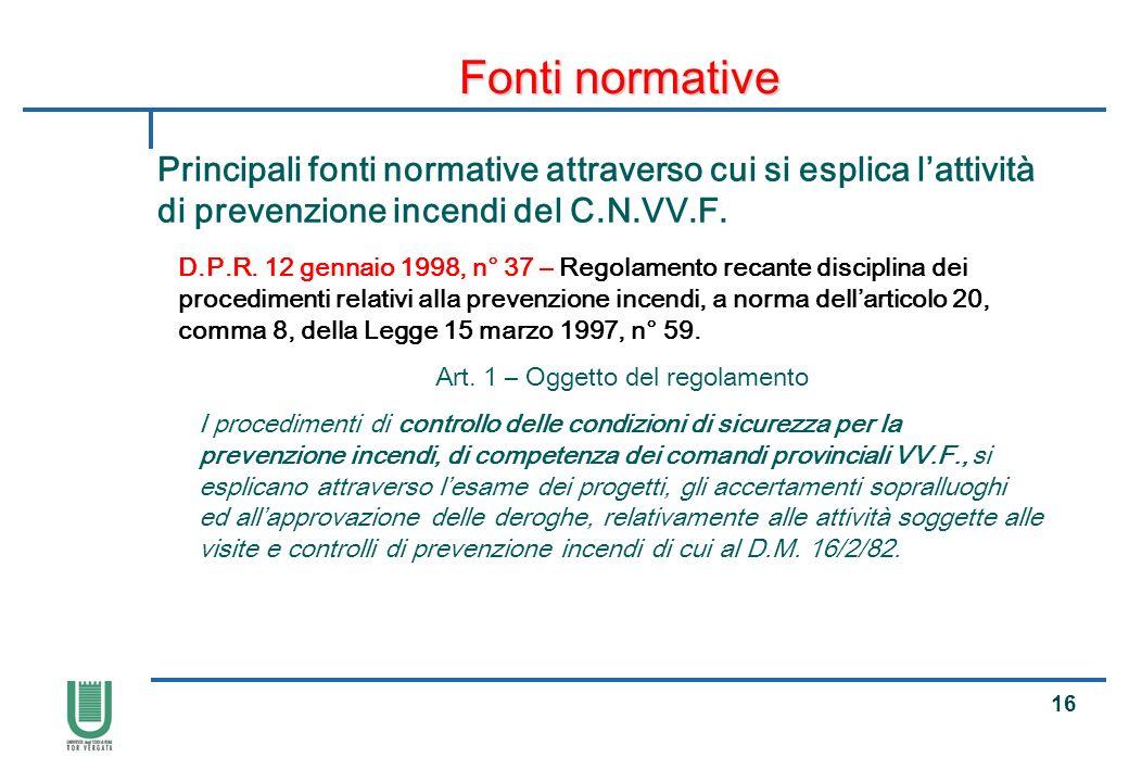 Art. 1 – Oggetto del regolamento