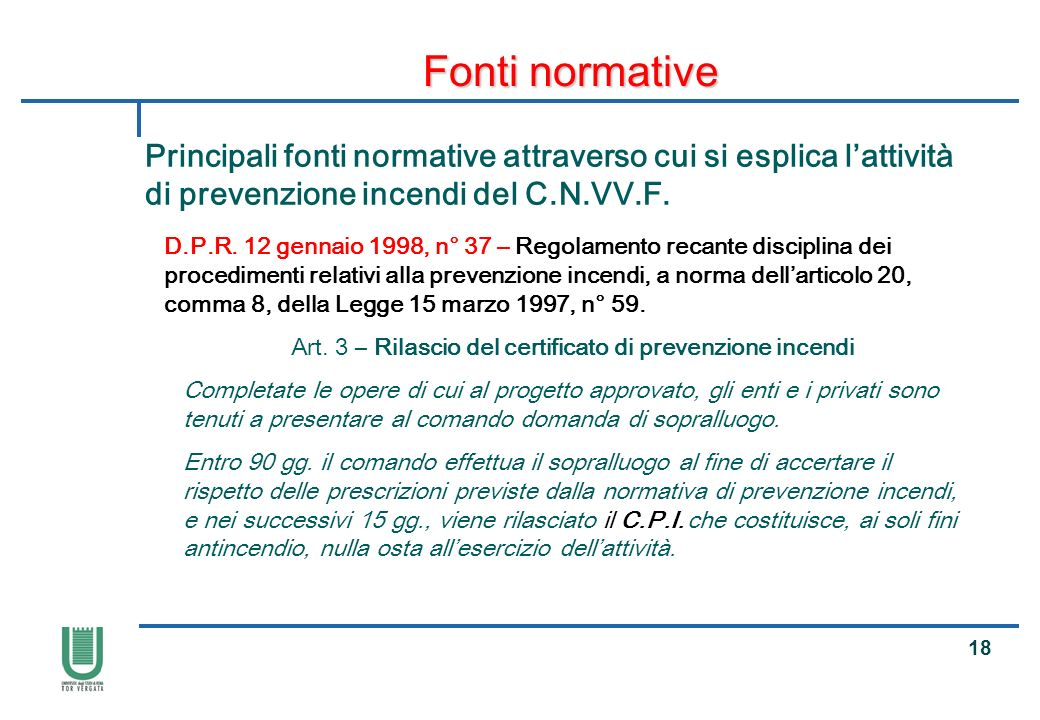 Art. 3 – Rilascio del certificato di prevenzione incendi