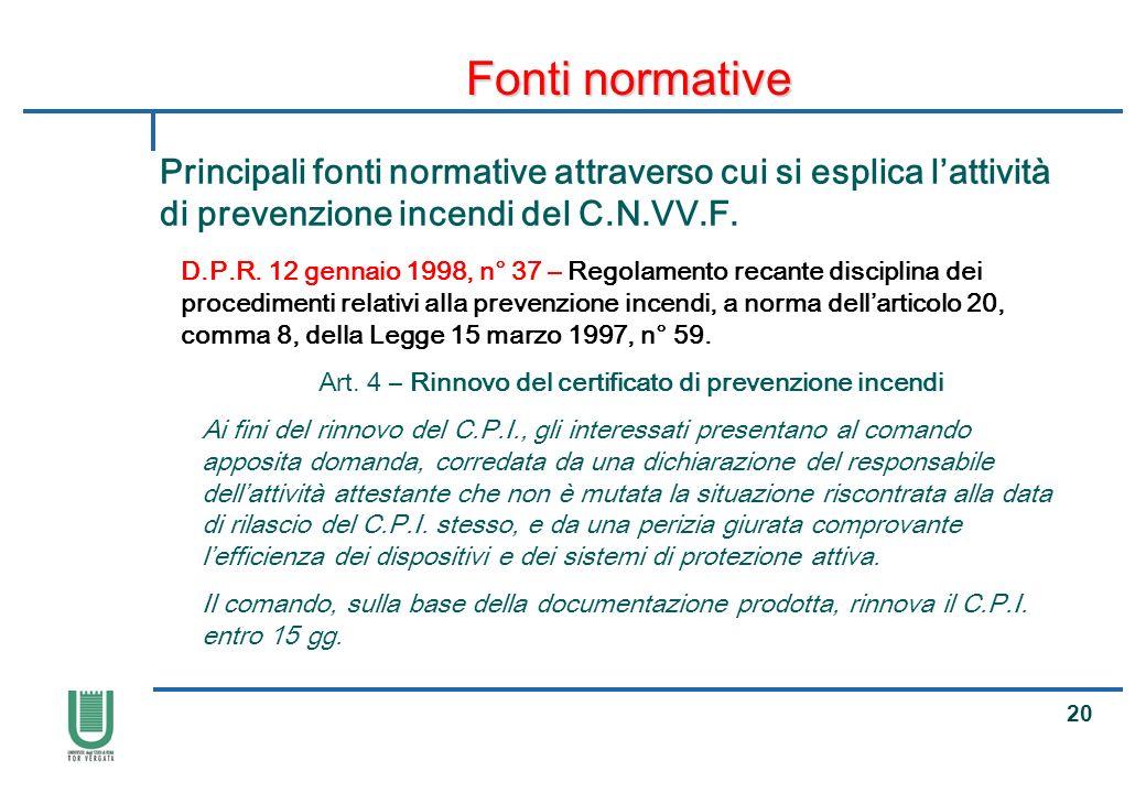 Art. 4 – Rinnovo del certificato di prevenzione incendi