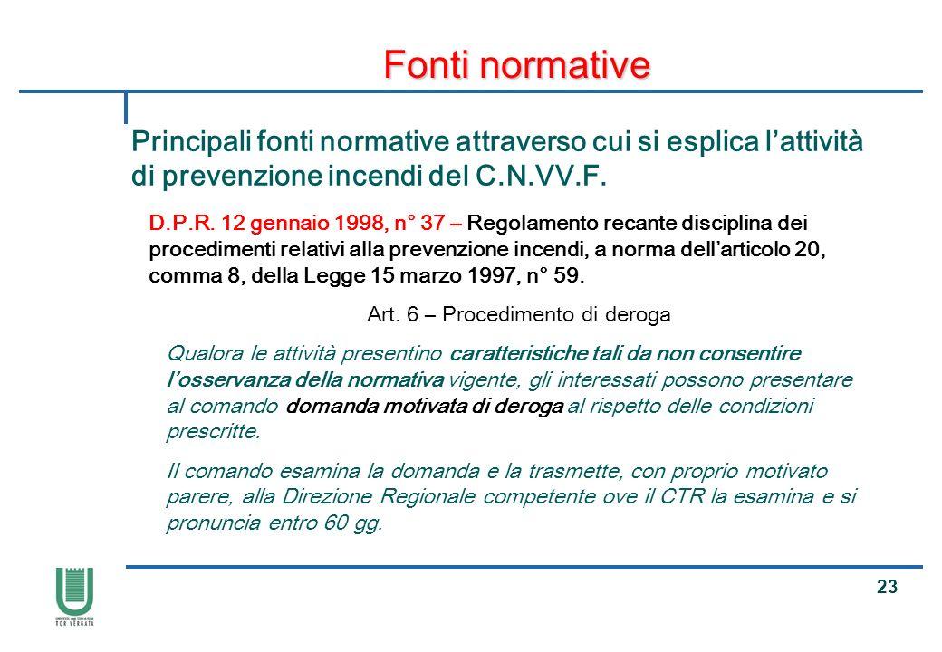 Art. 6 – Procedimento di deroga