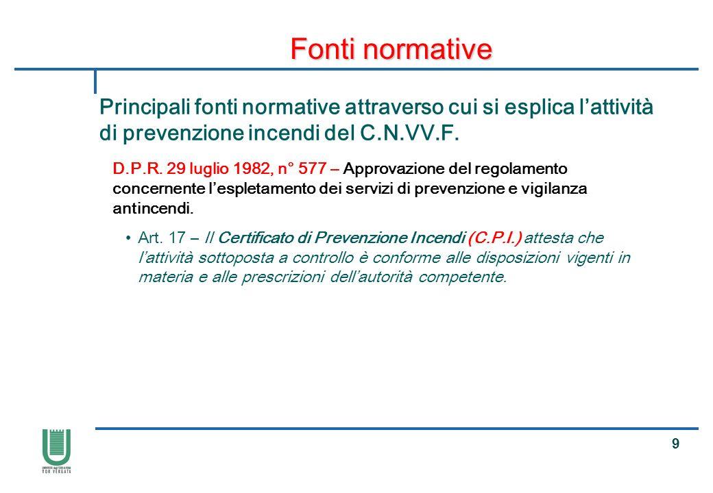 Fonti normative Principali fonti normative attraverso cui si esplica l'attività di prevenzione incendi del C.N.VV.F.