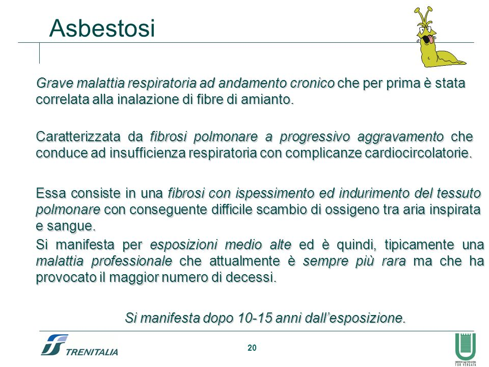 Asbestosi Grave malattia respiratoria ad andamento cronico che per prima è stata correlata alla inalazione di fibre di amianto.