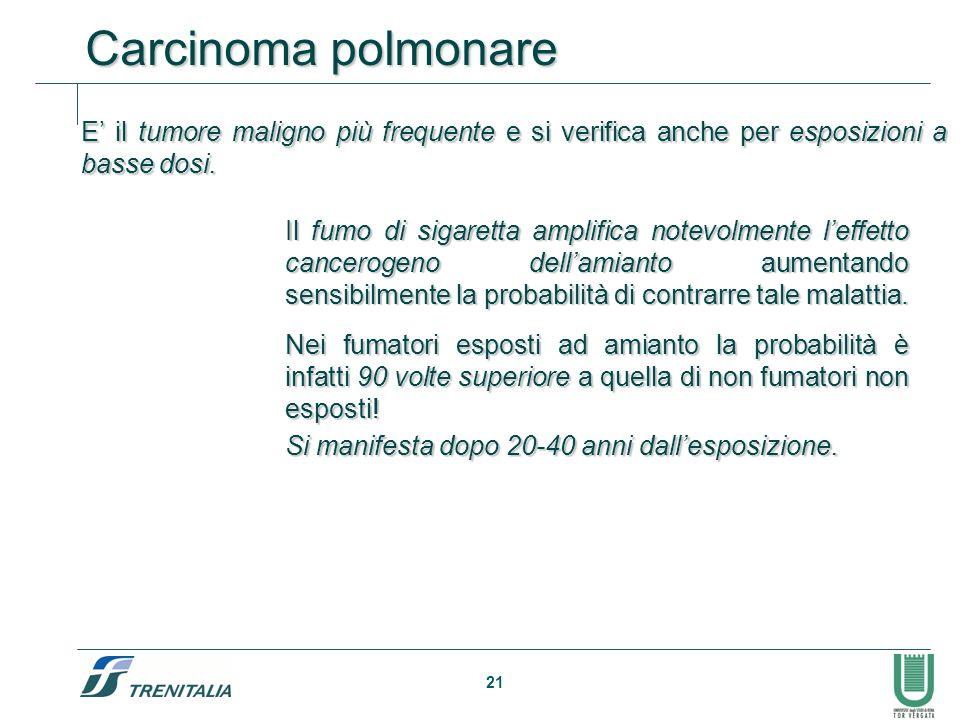 Carcinoma polmonare E' il tumore maligno più frequente e si verifica anche per esposizioni a basse dosi.