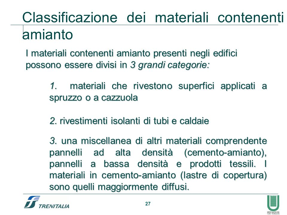 Classificazione dei materiali contenenti amianto