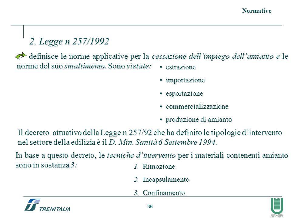 Normative 2. Legge n 257/1992.