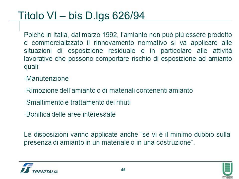 Titolo VI – bis D.lgs 626/94