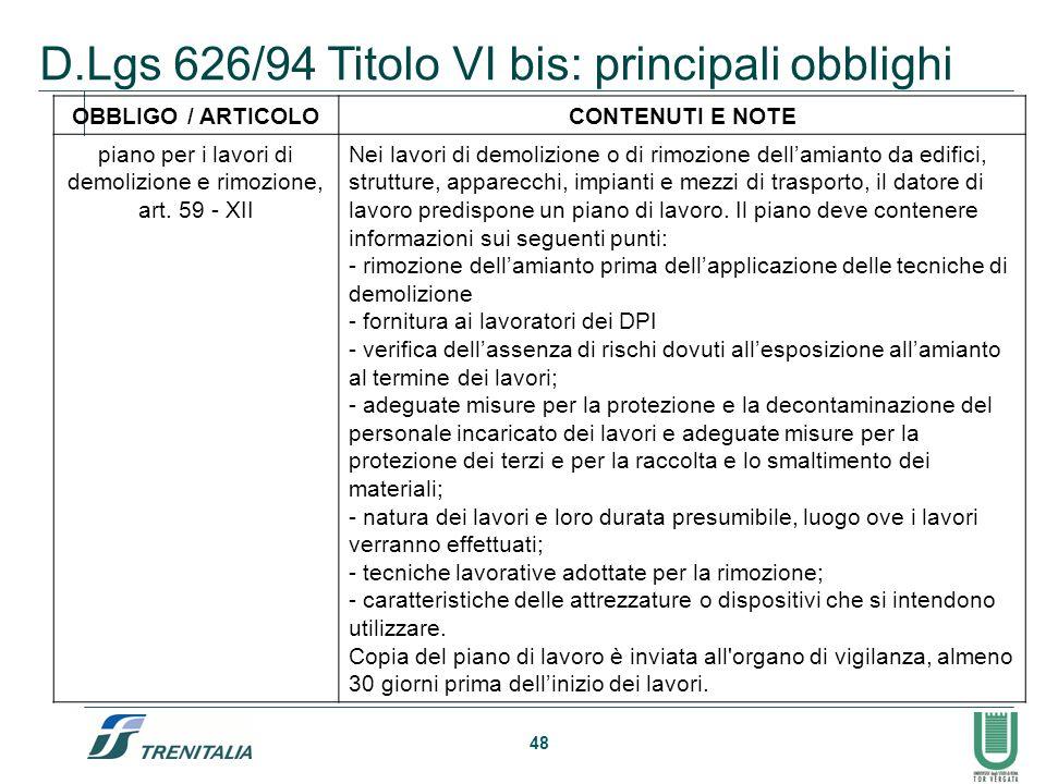 piano per i lavori di demolizione e rimozione, art. 59 - XII