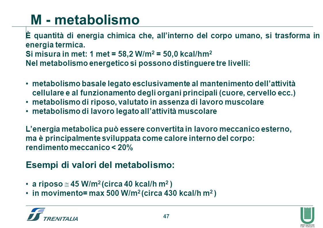 M - metabolismo Esempi di valori del metabolismo: