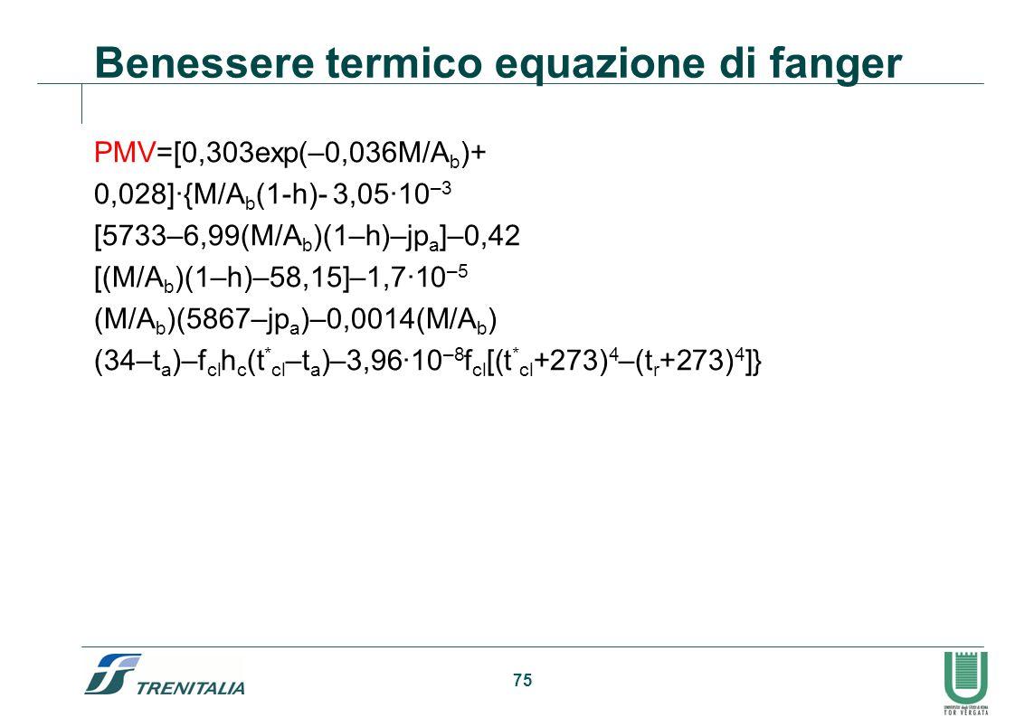 Benessere termico equazione di fanger