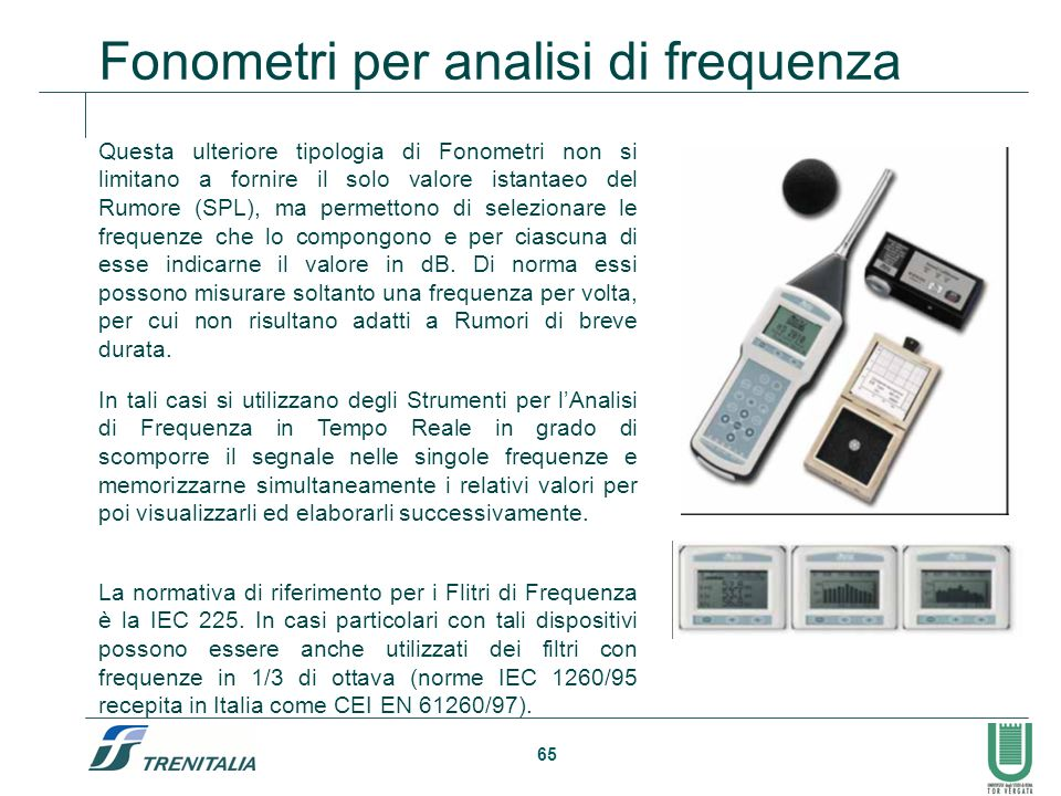 Fonometri per analisi di frequenza