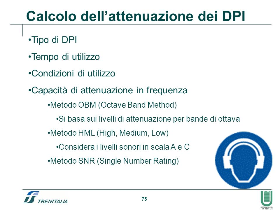 Calcolo dell'attenuazione dei DPI