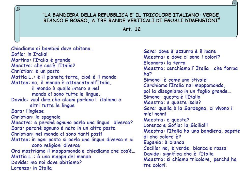 LA BANDIERA DELLA REPUBBLICA E' IL TRICOLORE ITALIANO: VERDE, BIANCO E ROSSO, A TRE BANDE VERTICALI DI EGUALI DIMENSIONI