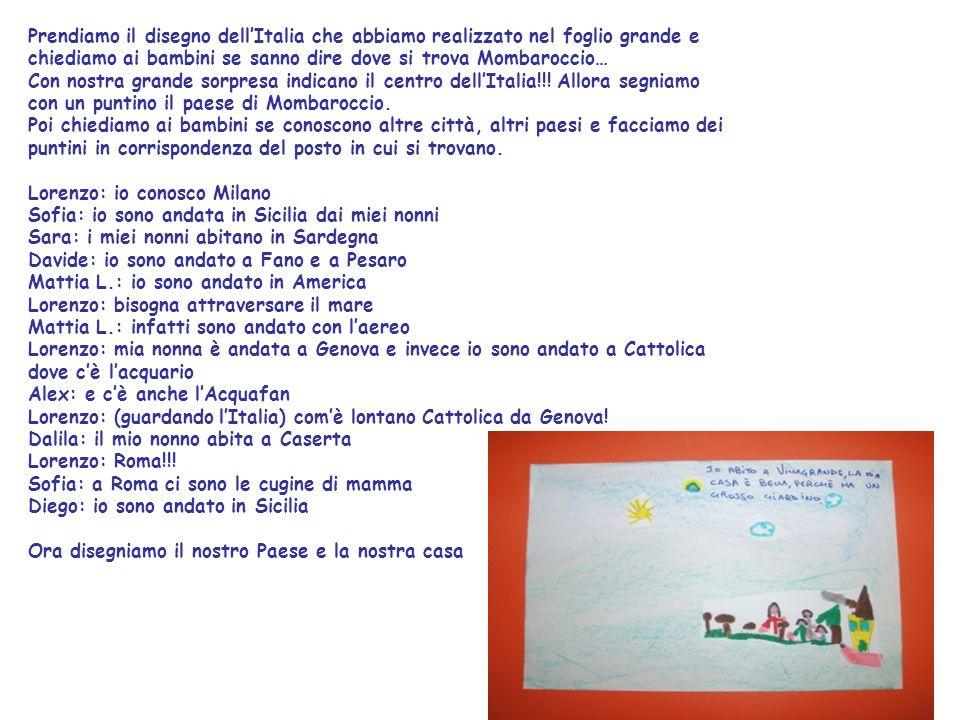 Prendiamo il disegno dell'Italia che abbiamo realizzato nel foglio grande e chiediamo ai bambini se sanno dire dove si trova Mombaroccio…