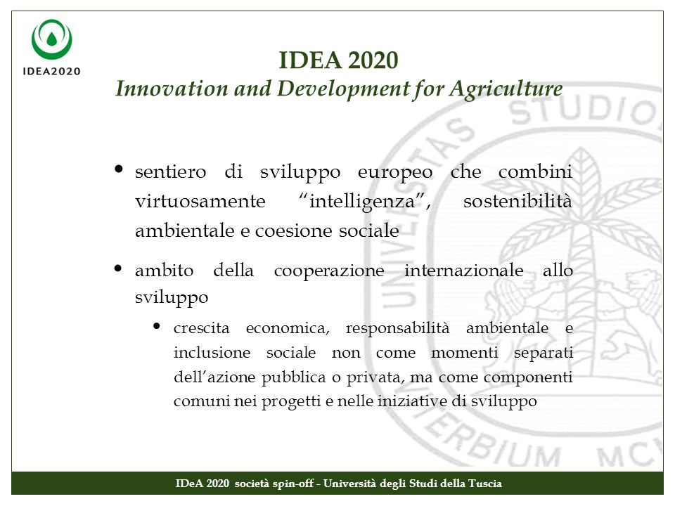 IDEA 2020 Innovation and Development for Agriculture