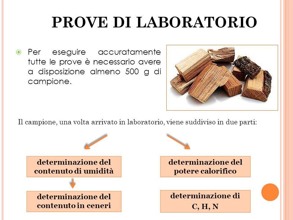 PROVE DI LABORATORIO Per eseguire accuratamente tutte le prove è necessario avere a disposizione almeno 500 g di campione.