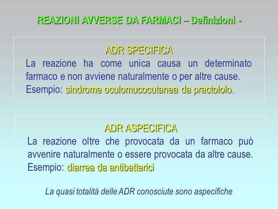 REAZIONI AVVERSE DA FARMACI – Definizioni -