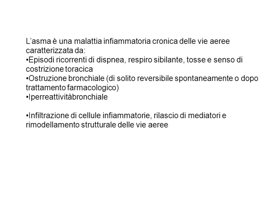 L'asma è una malattia infiammatoria cronica delle vie aeree caratterizzata da: