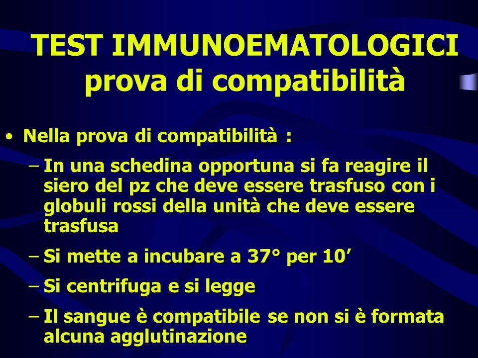 TEST IMMUNOEMATOLOGICI prova di compatibilità